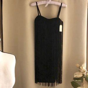 NWT Black 2 layer Tassel short dress